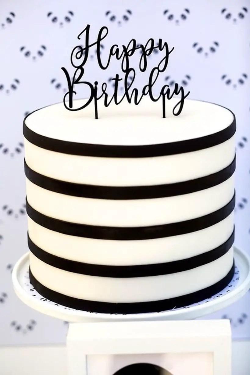 Simple striped cake birthday to celebrate a birthday