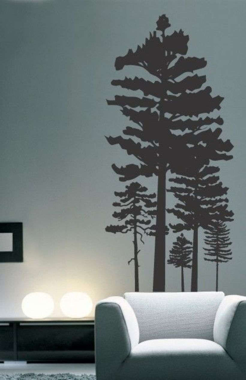 Simple wall painting pine tree themes for your living room to look beautifull
