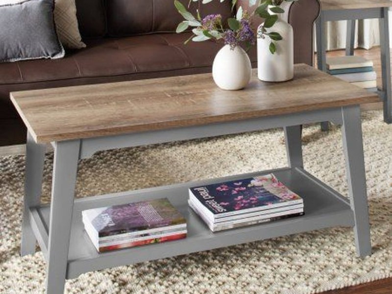 Simple wooden coffee table to store book underneath