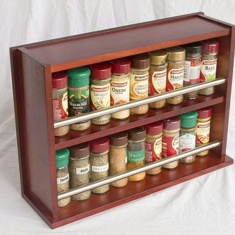 Square wooden spice racks