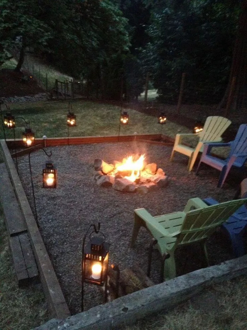 Stone fire pit and lamp lantern