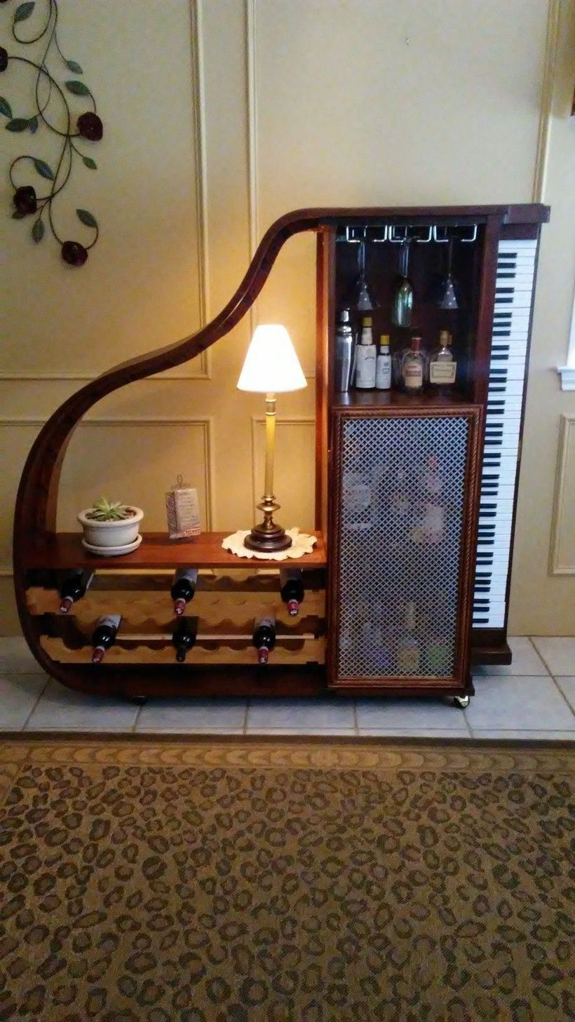 Unique cabinet from piano table