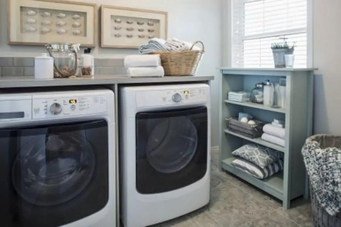 Washing machine with green wooden storage