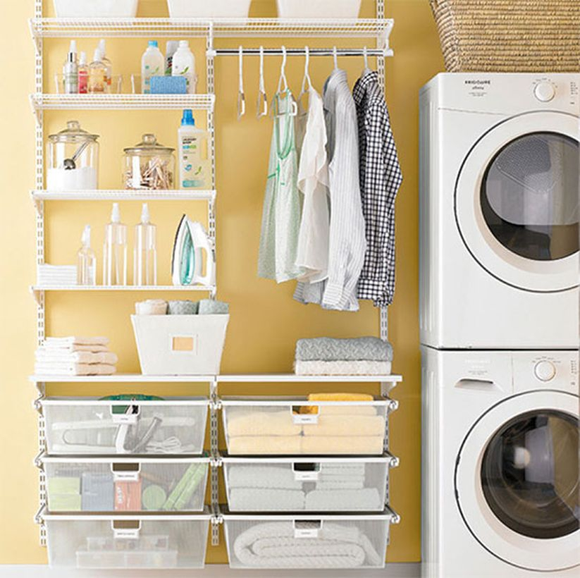 Washing machine with plastic storage and rattan storage