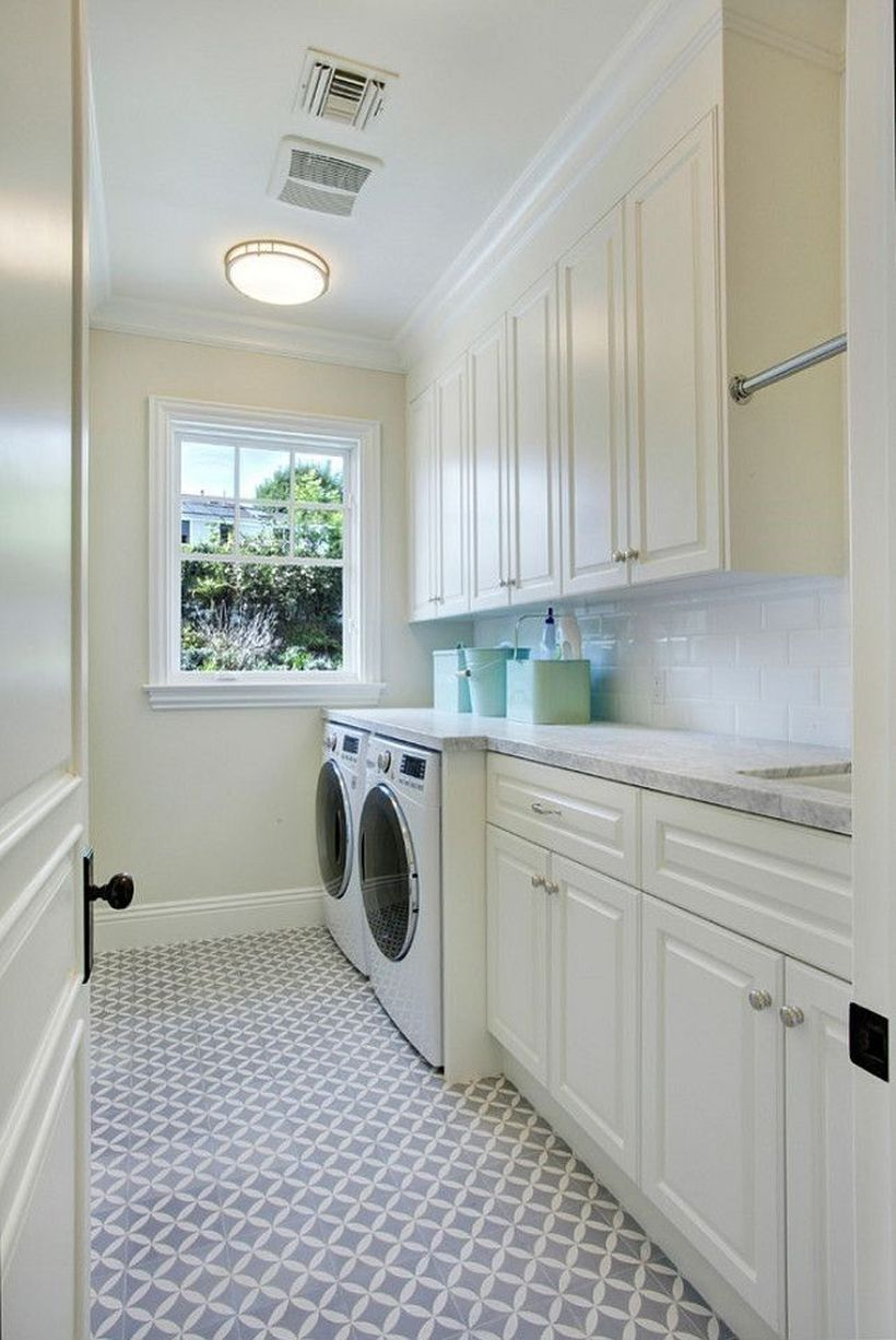 Washing machine with white cabinet storage
