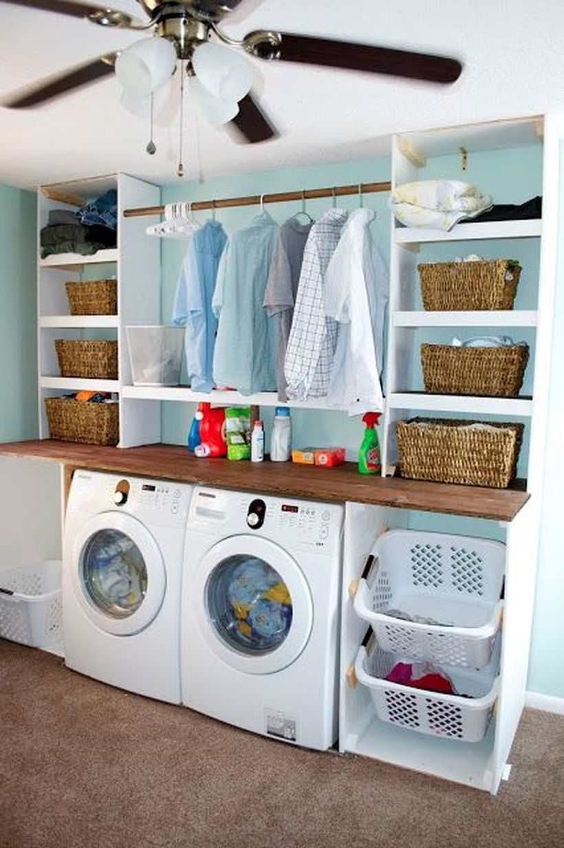 Washing machine with white plastic storage and rattan storage