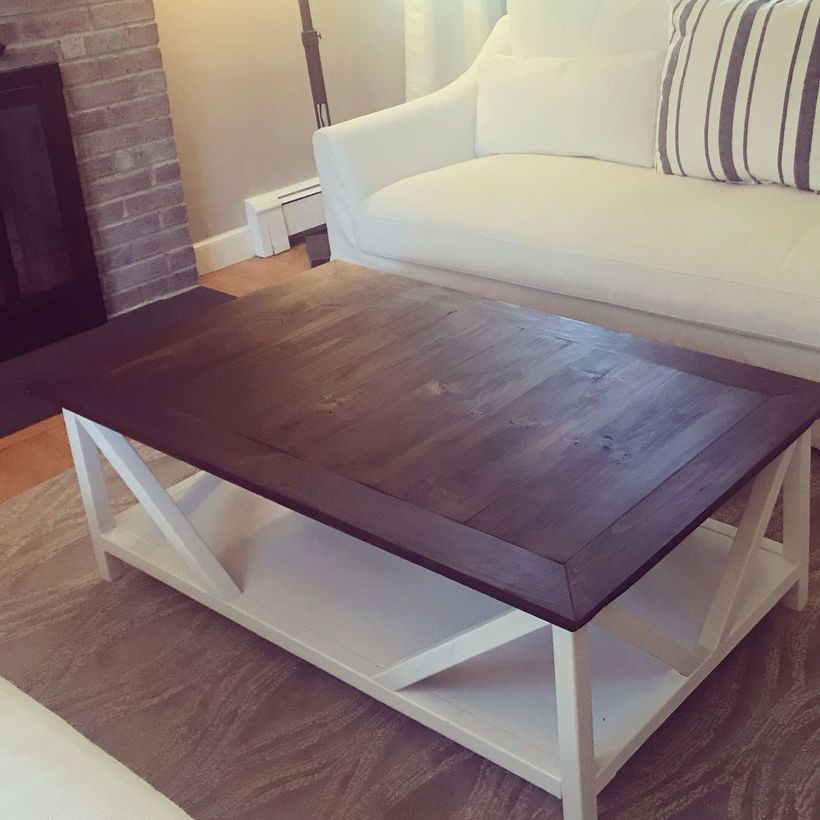 White and brown wooden coffee table