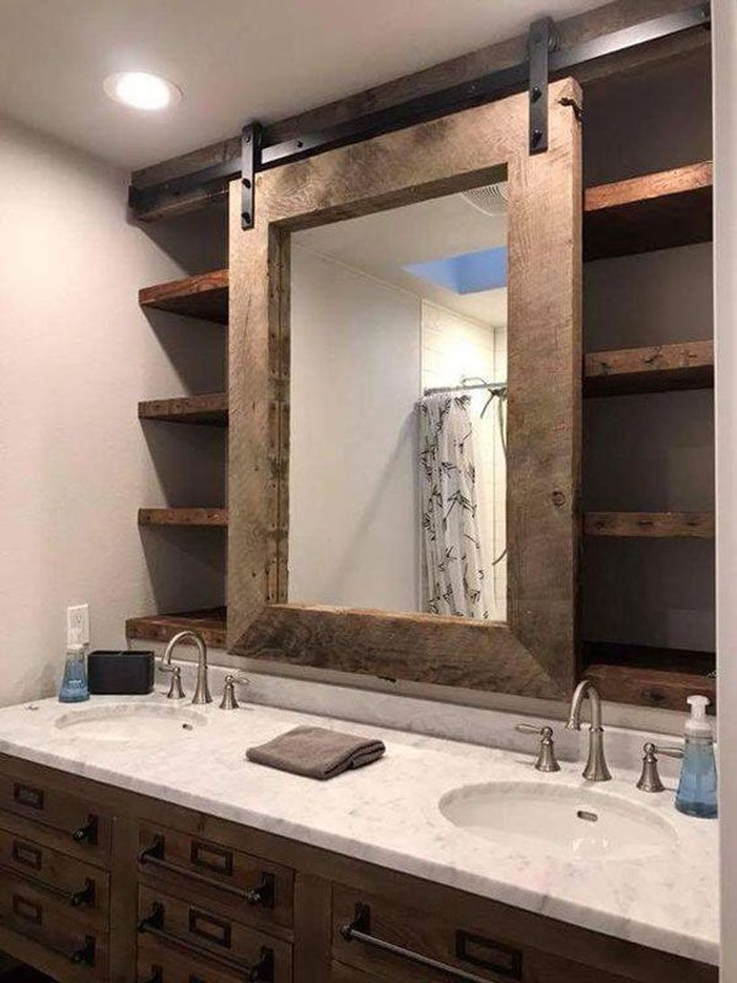 Wooden frame sliding mirror