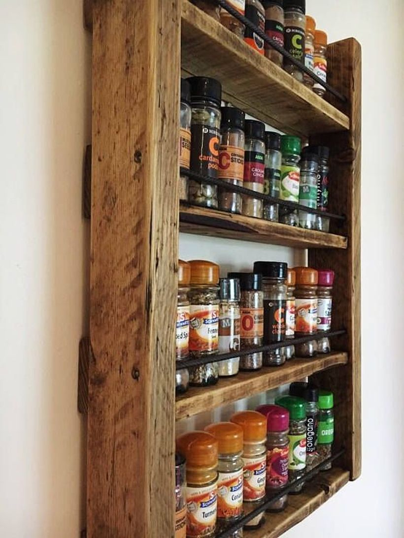 Wooden graded rack on the wall