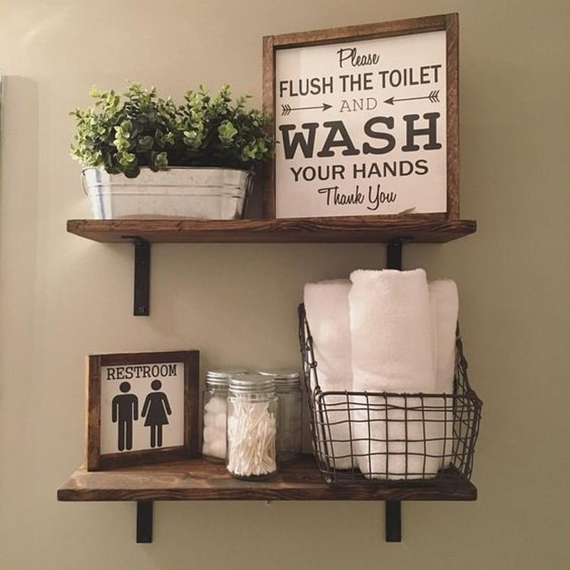 Wooden hanging rack to store bathroom ornament