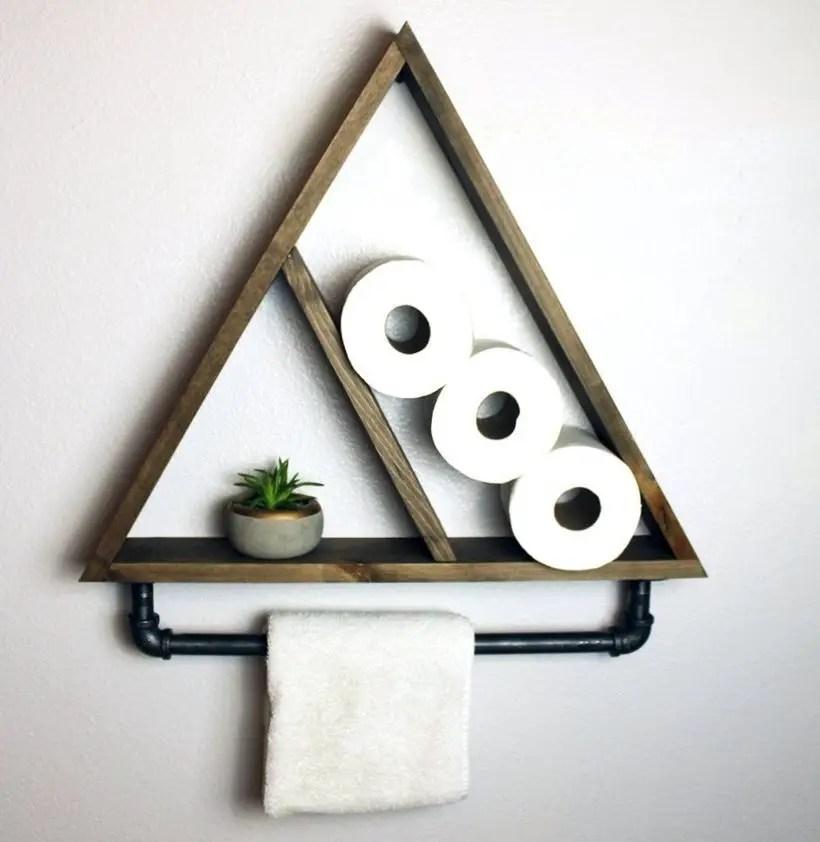 Wooden hanging rack triangular