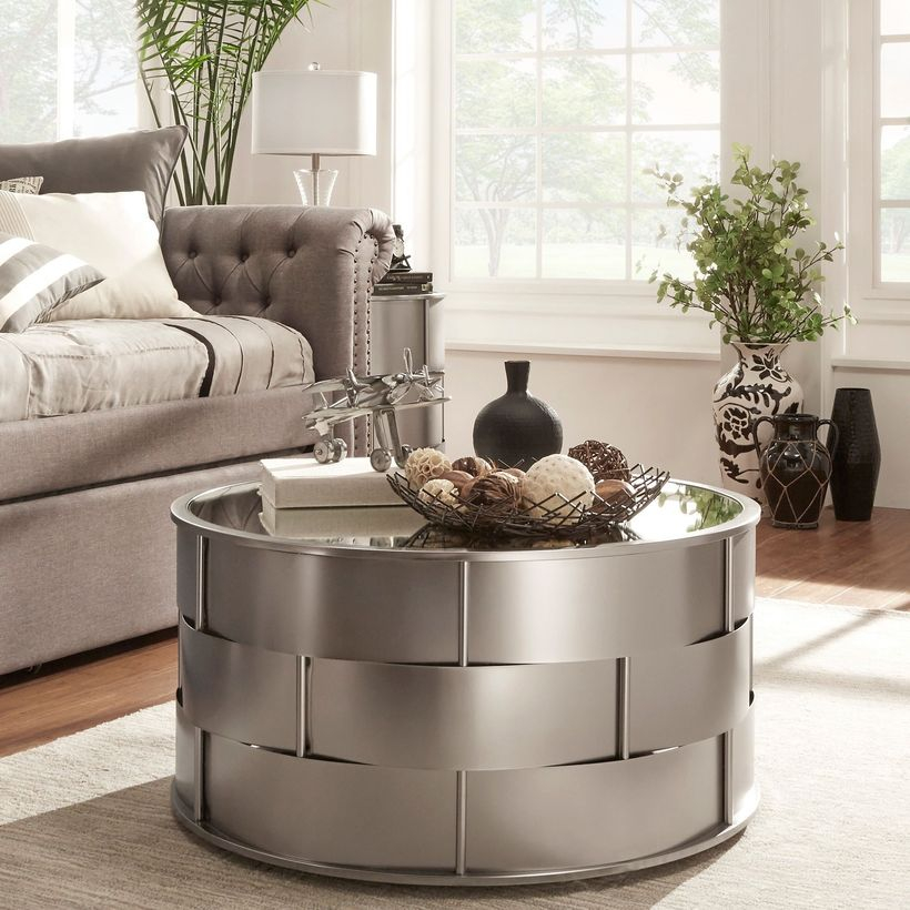 Zinc and iron coffee table