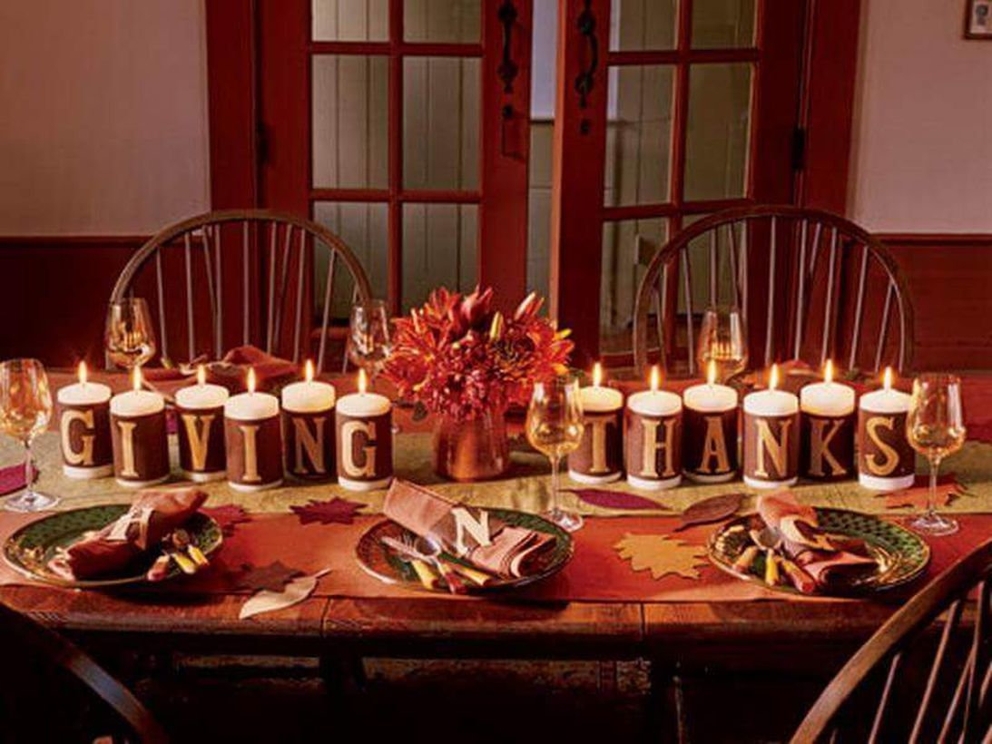 Alphabet-candles-arranged-as-giving-thanks-for-dining-table.-