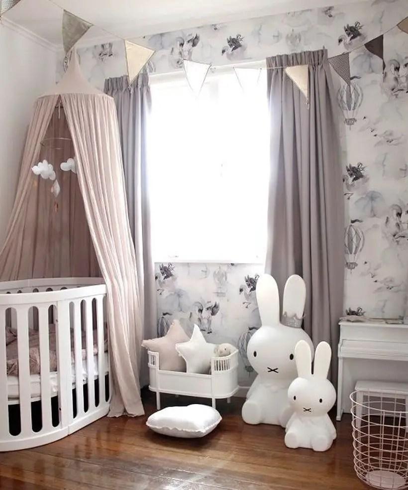 Baby-girls-nursery-room-with-rabbit-girl-bedroom-unique-pattern-wallpapper