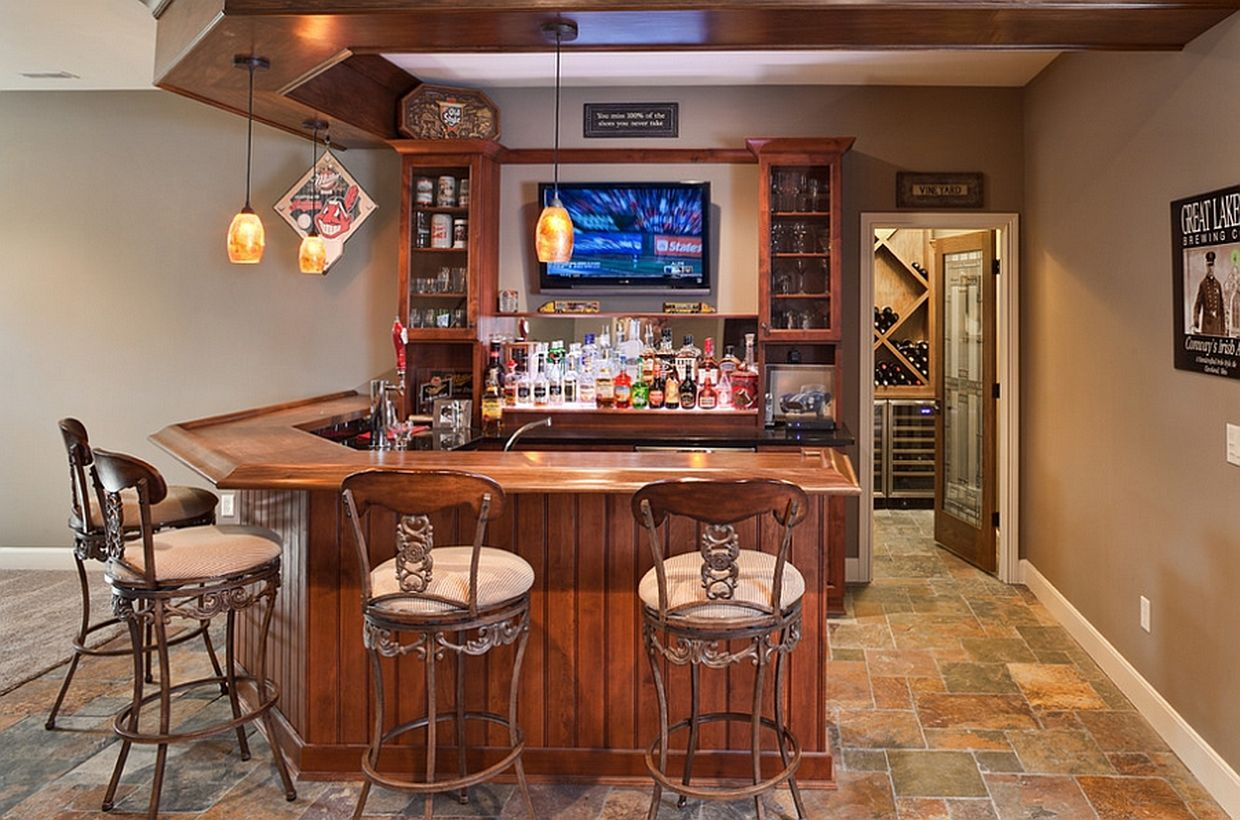 Basement bar complete with a wine cellar