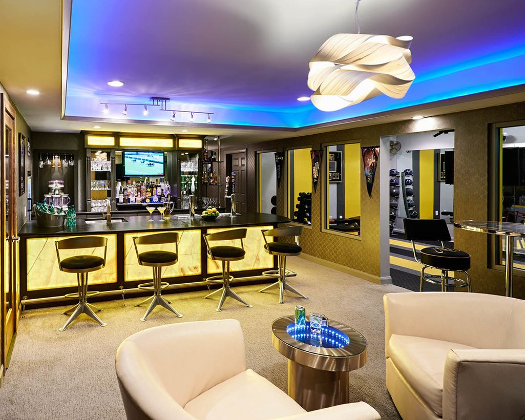 Basement with yellow light in bar and white sofa ideas