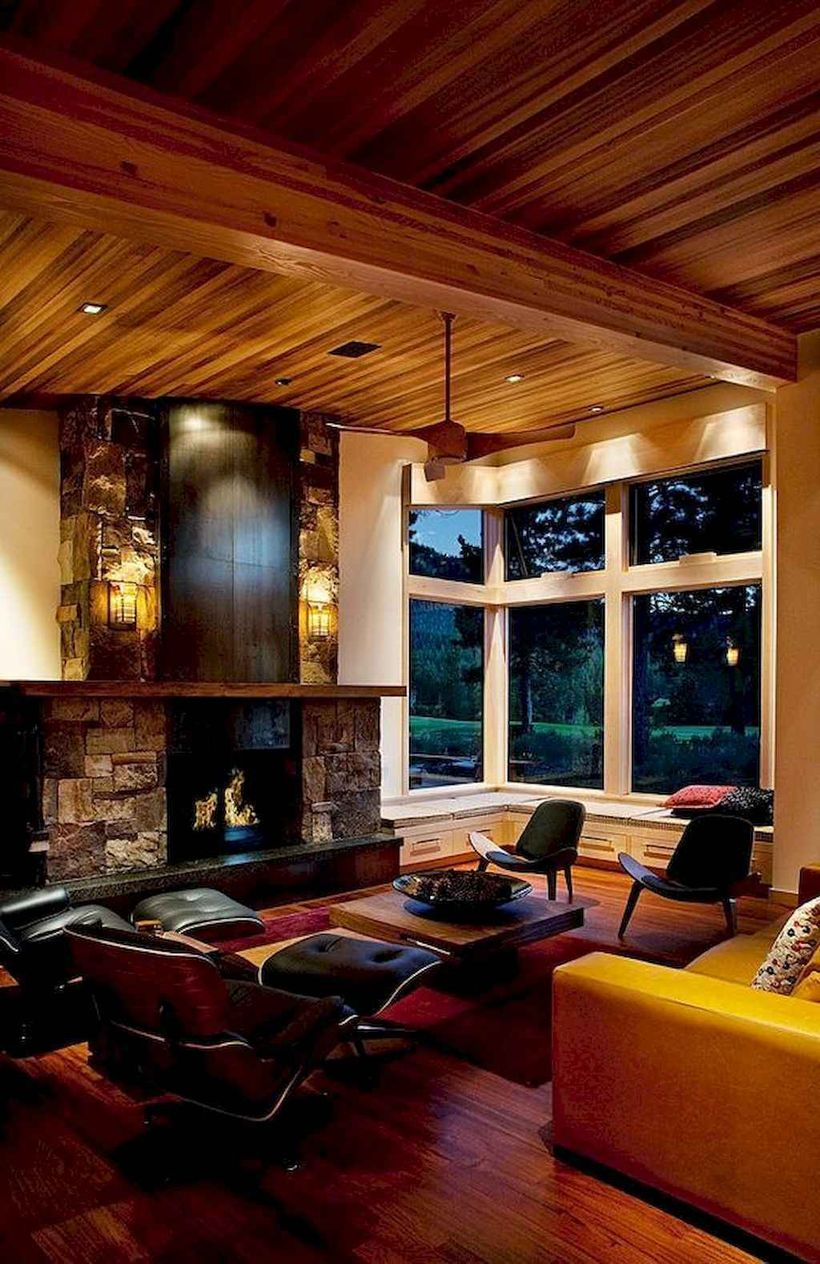 Best living room with black sofa chairs, yellow sofa, small wooden table and sky of wood