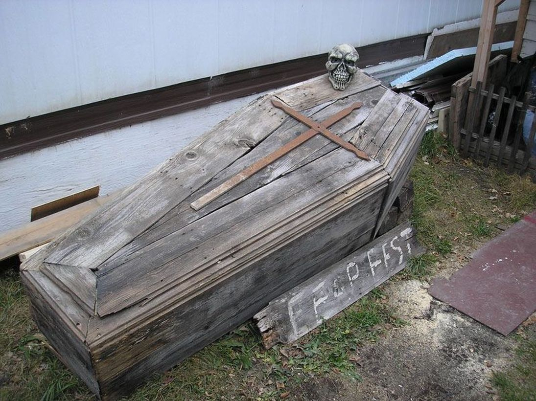Classic wooden pallet old coffin in garden for scary garden decoration