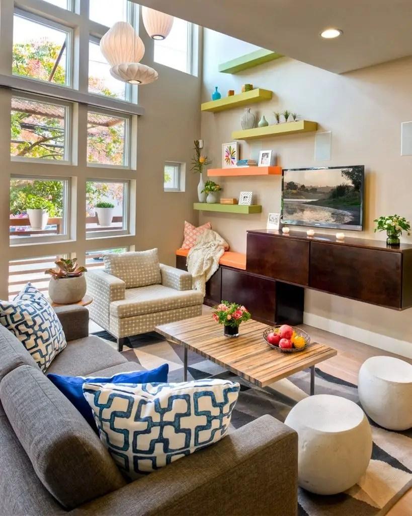 Colorful shelf for living room
