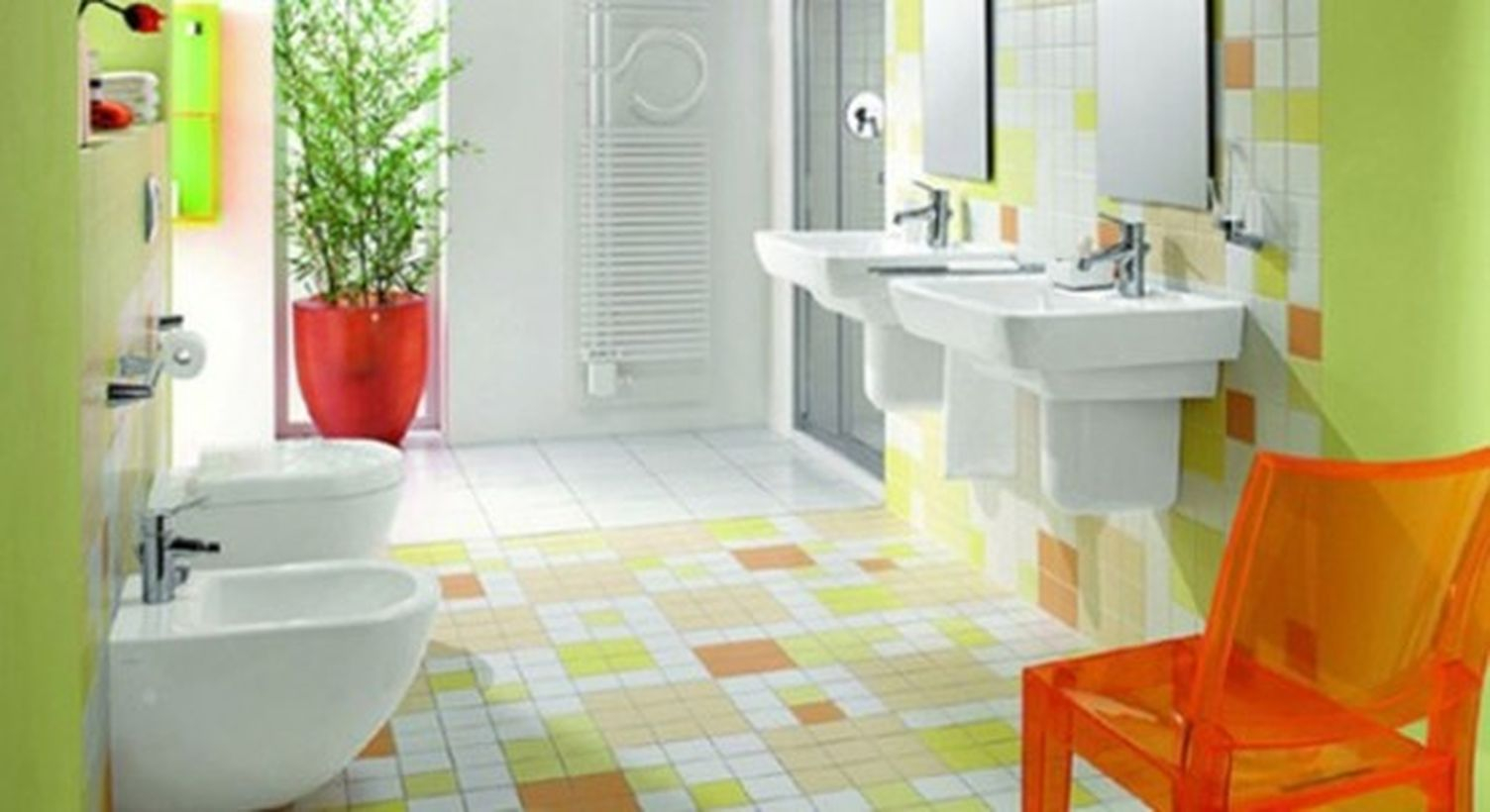 Colorful tile with white sink and closet for bathroom decoration to look fresh