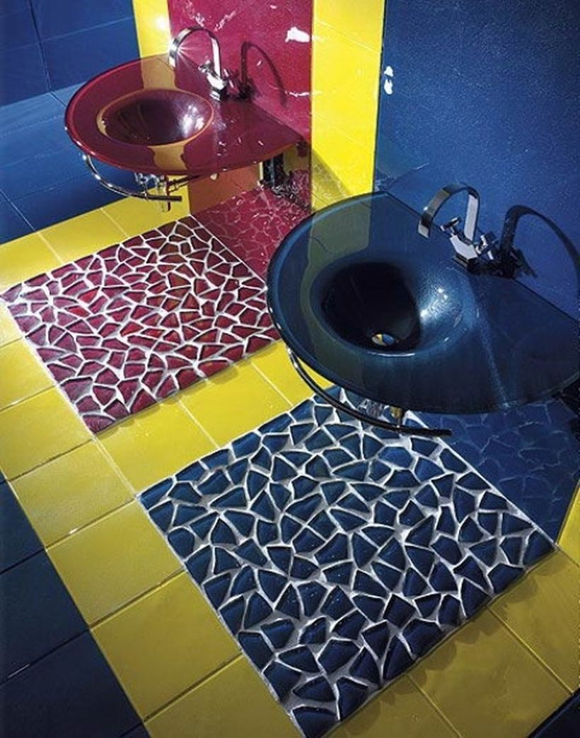 Creative multi colored tiled bathroom, red and blue sink for amazing decoration