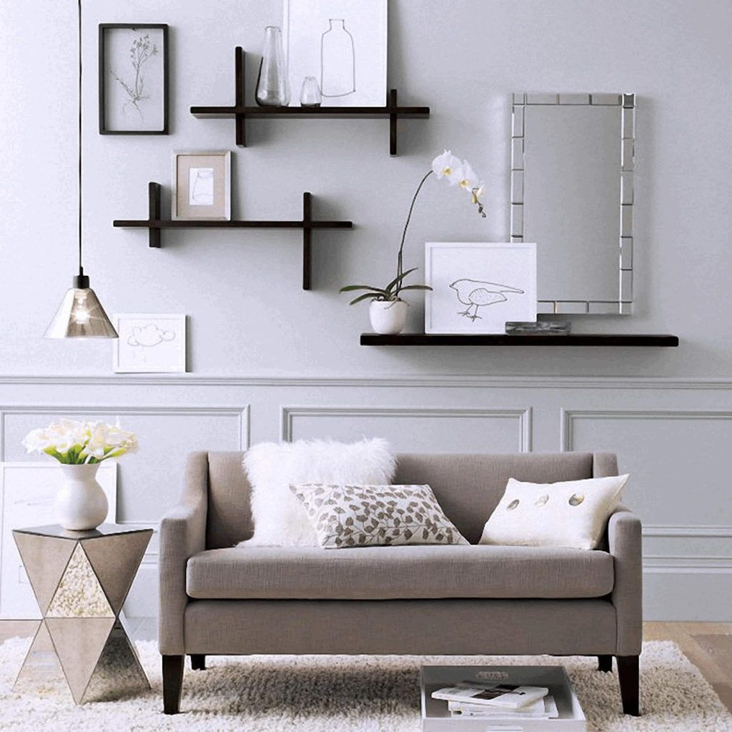 Floating wall shelf decorating for living room