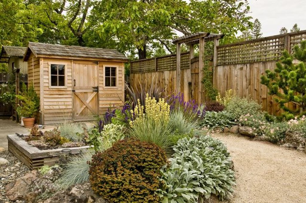 Garden shed design with matching fence