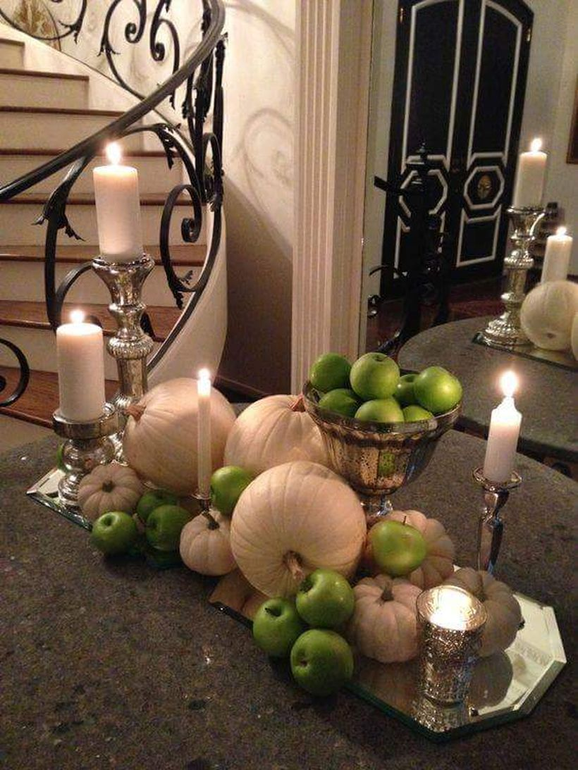 Green-apples-and-white-pumpkins-for-thanksgiving-table.-