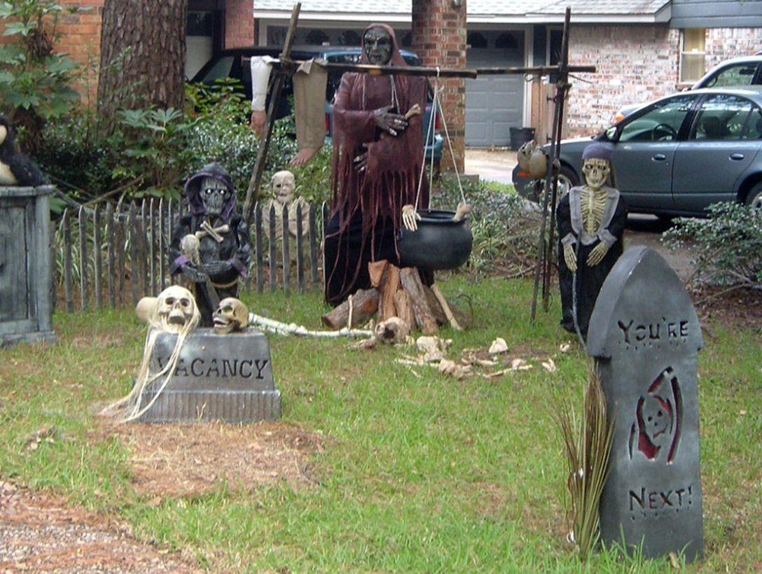 Halloween outdoor decoration with black robed ghost