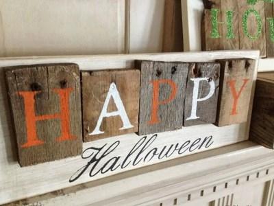 Happy wooden pallet board sentences side top view