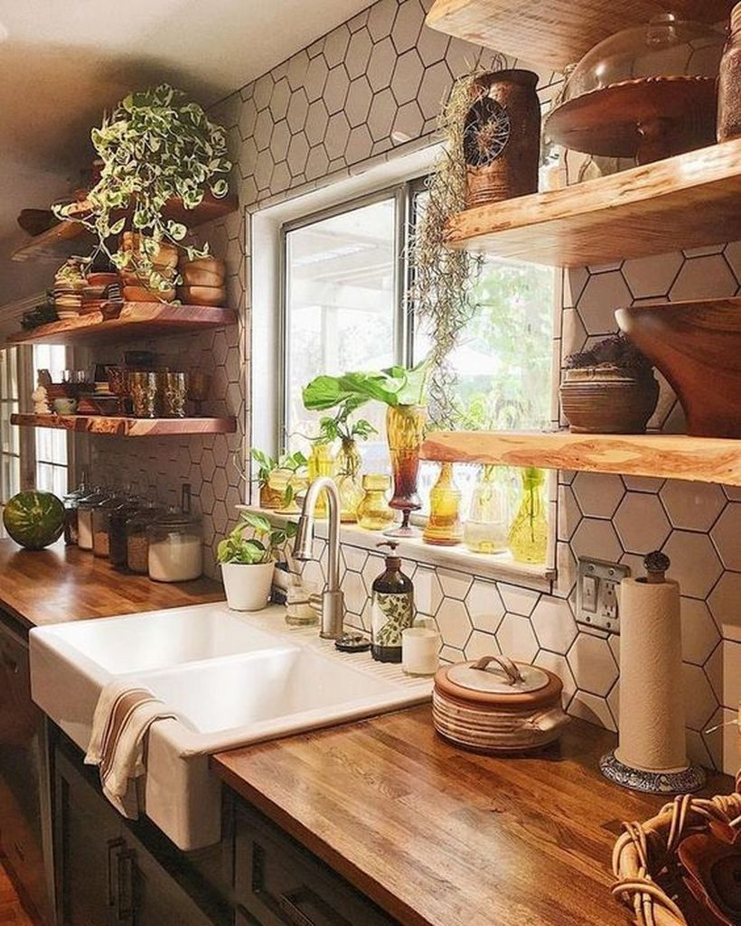 Intresting kitchen with wooden table combine white wastafel, wooden rack on modern walls to look great