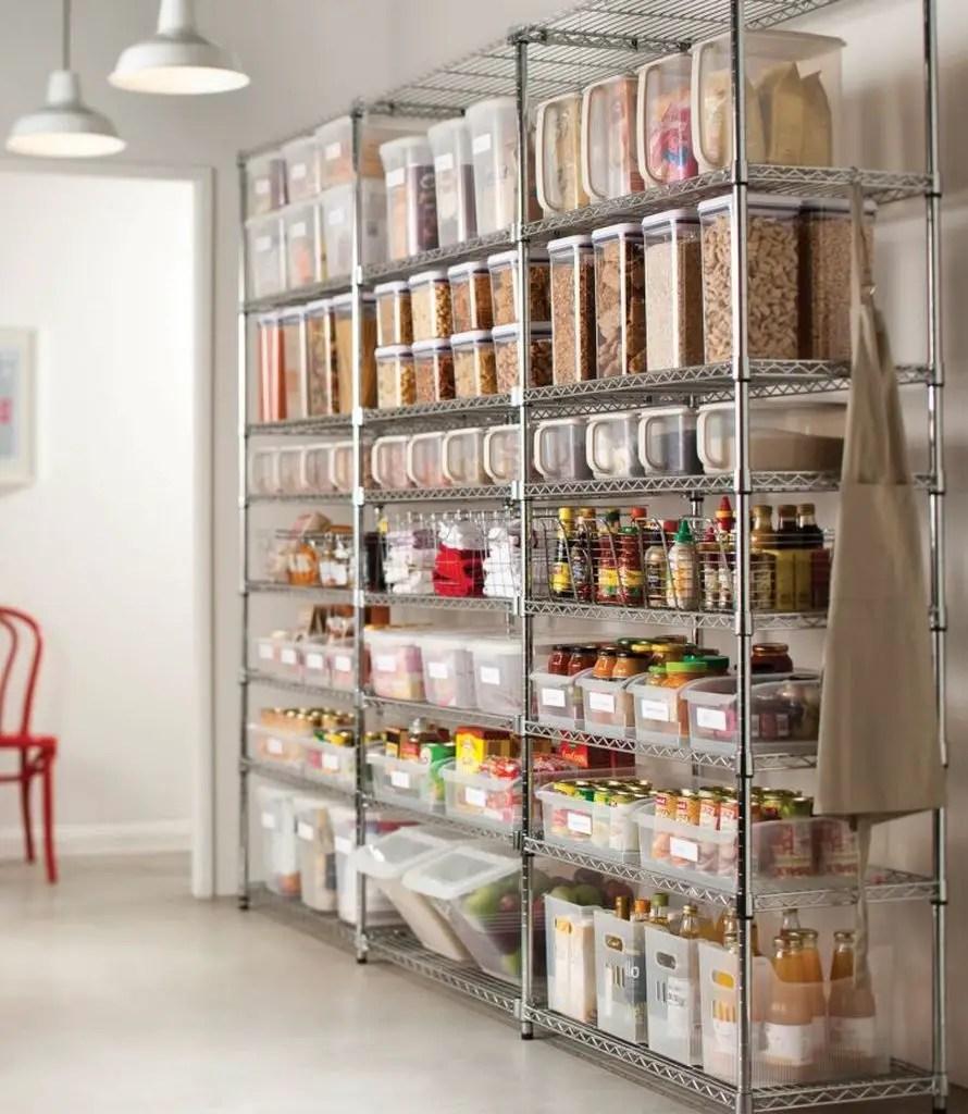 Metal shelving to oraganize your pantry