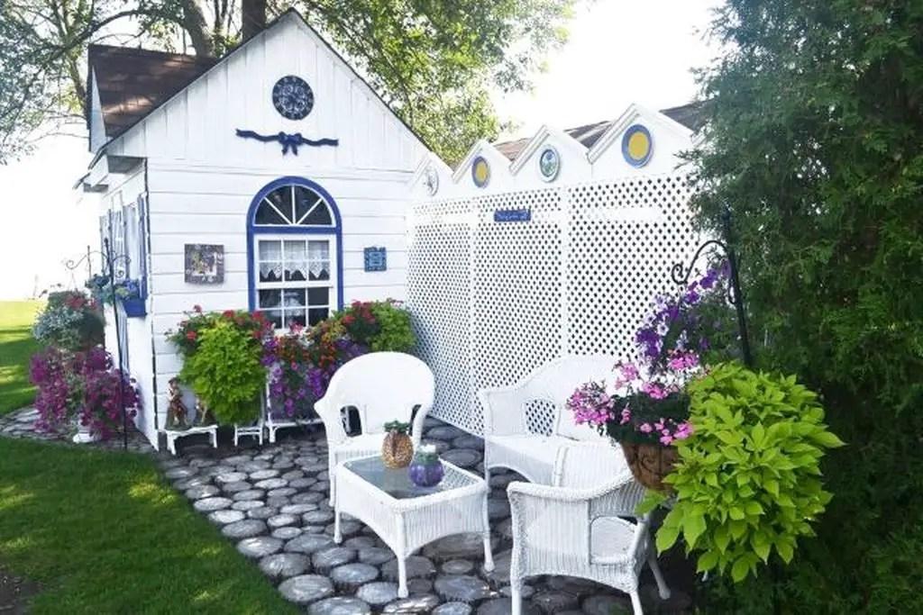 Modern garden shed in white