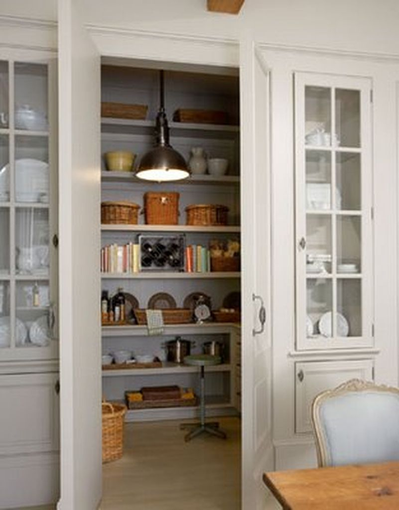 Modern small kitchen pantry with grey color