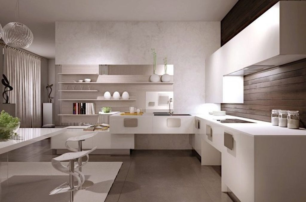 Neutral kitchen with shelf on the wall