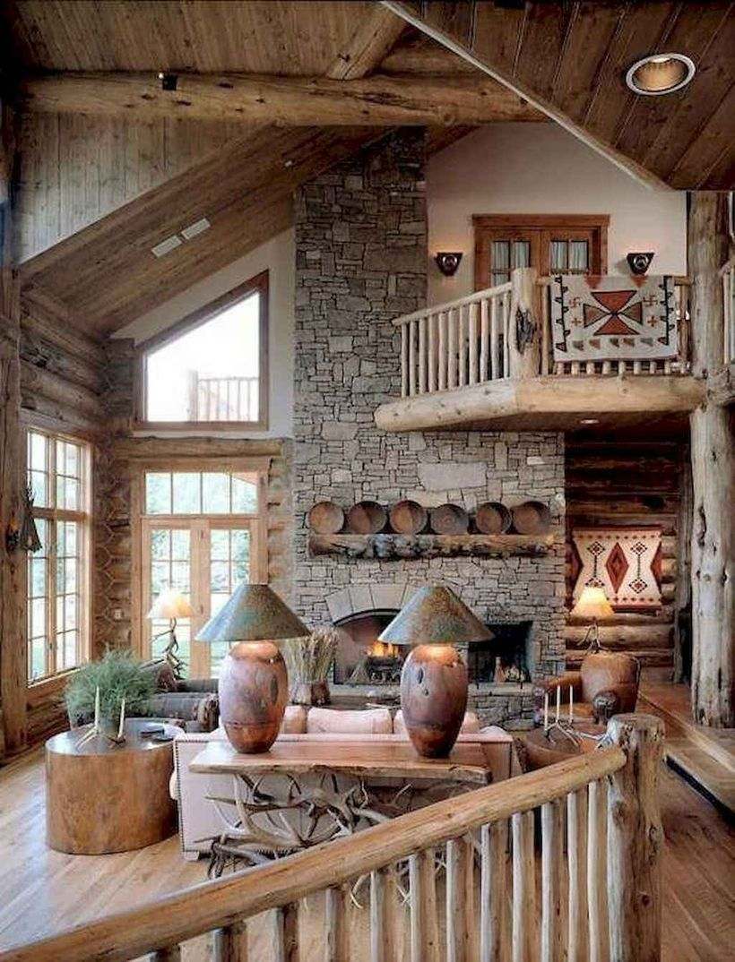 Rustic living room with modern stone wall and wooden decoration to look awesome