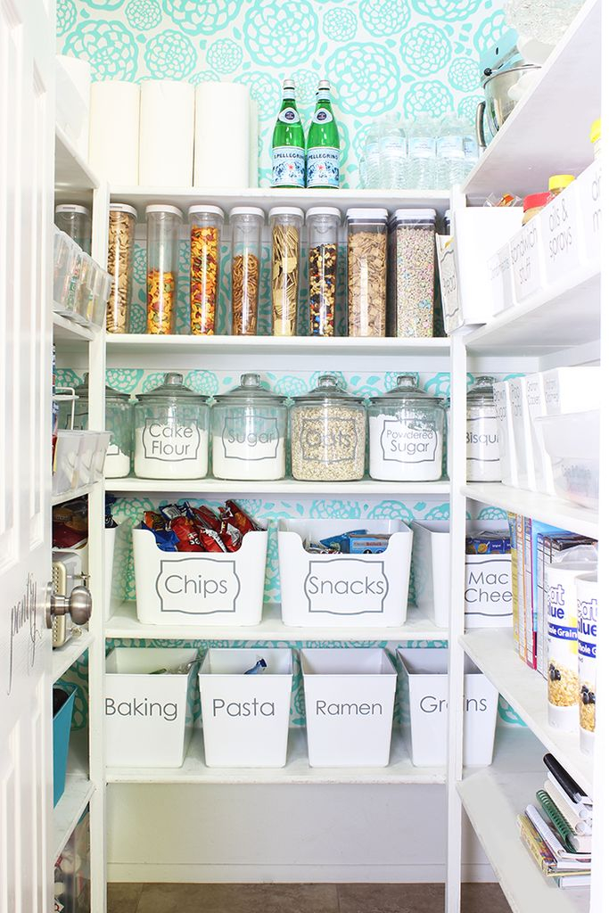 Smart pantry organize with white shelves