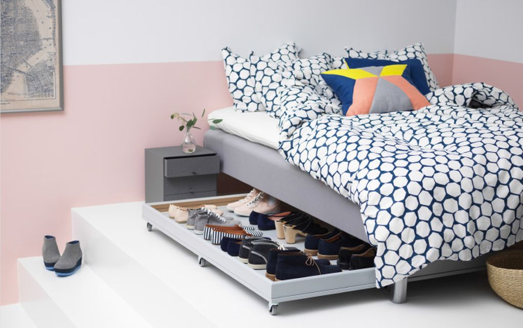 Smart shoes storage idea for a small bedroom with diy ikea under bed shoe storage to complete your shoes storage