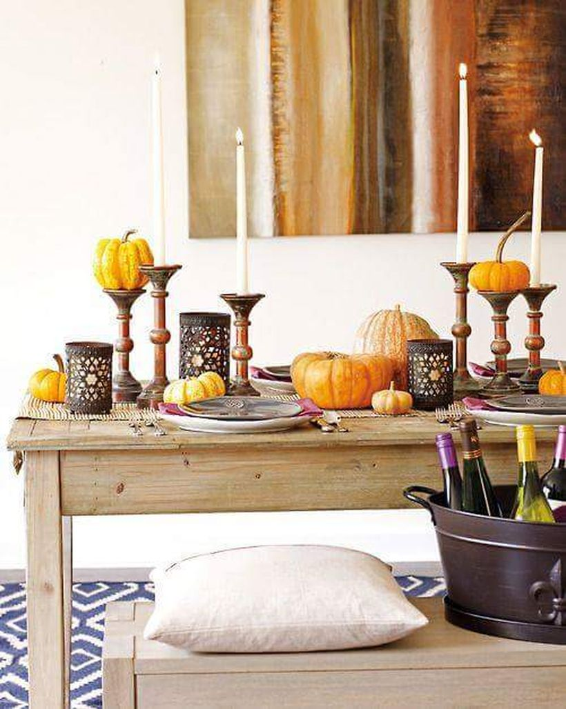 Thanksgiving-for-table-with-candles-and-pumpkins.-
