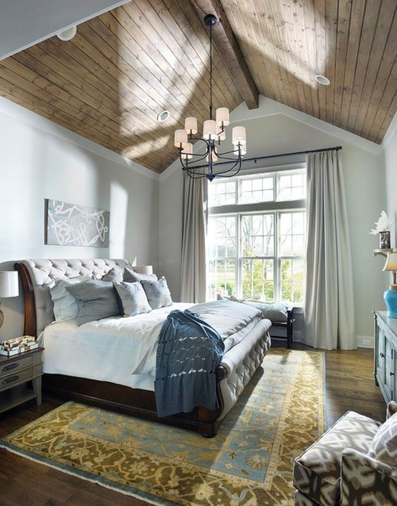 Wonderful bedroom with wooden bedstead, white bed, and sky of wooden for good looking