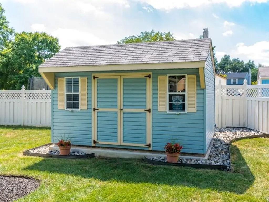 Wooden blue shed design