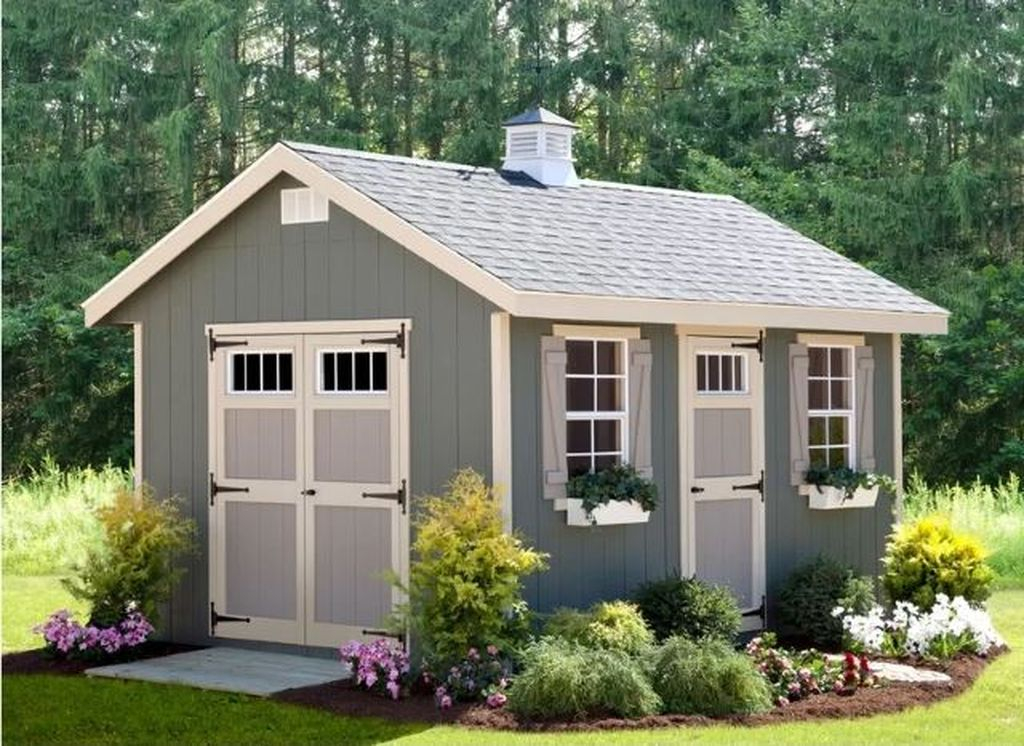 Wooden shed in light blue