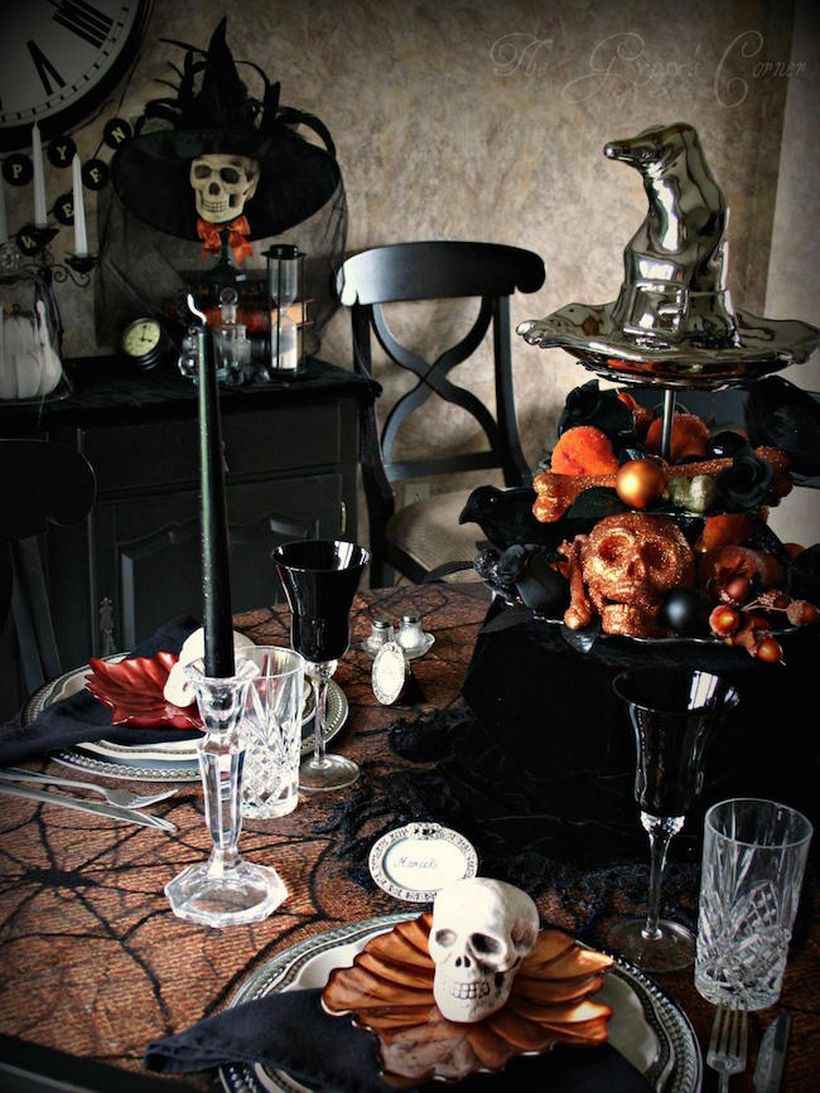 Arrangement lots of skull for halloween table setting