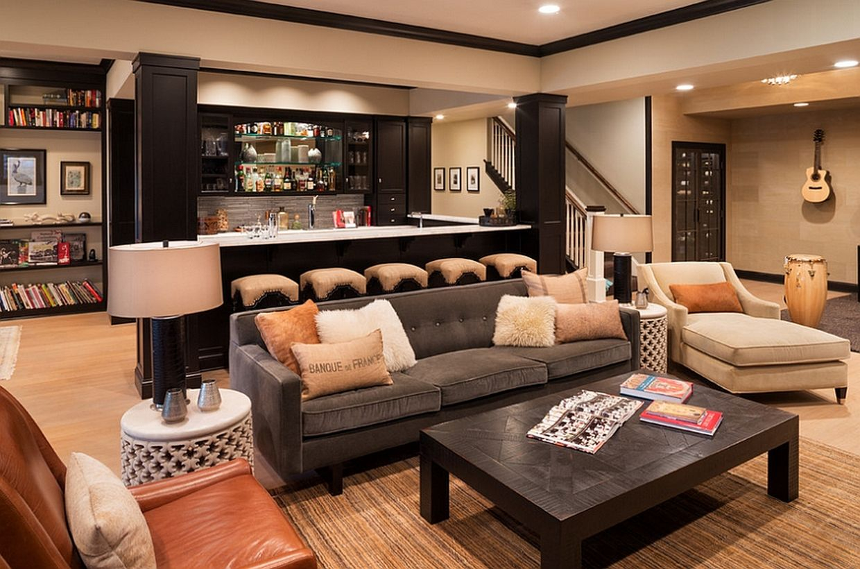 Basement bar and living decoration