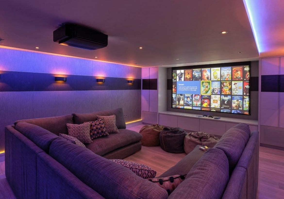 Basement for watching movies and combined with a u-shaped sofa