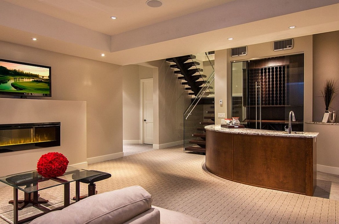 Basement with bar, white sofa and white wool carpet