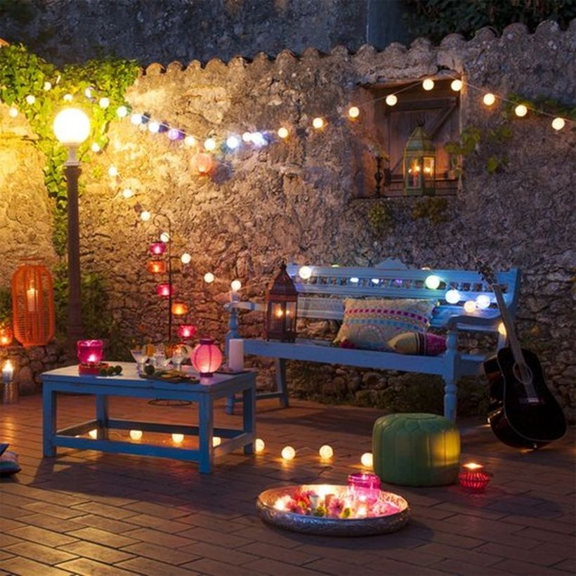 Colorful string lamps decor