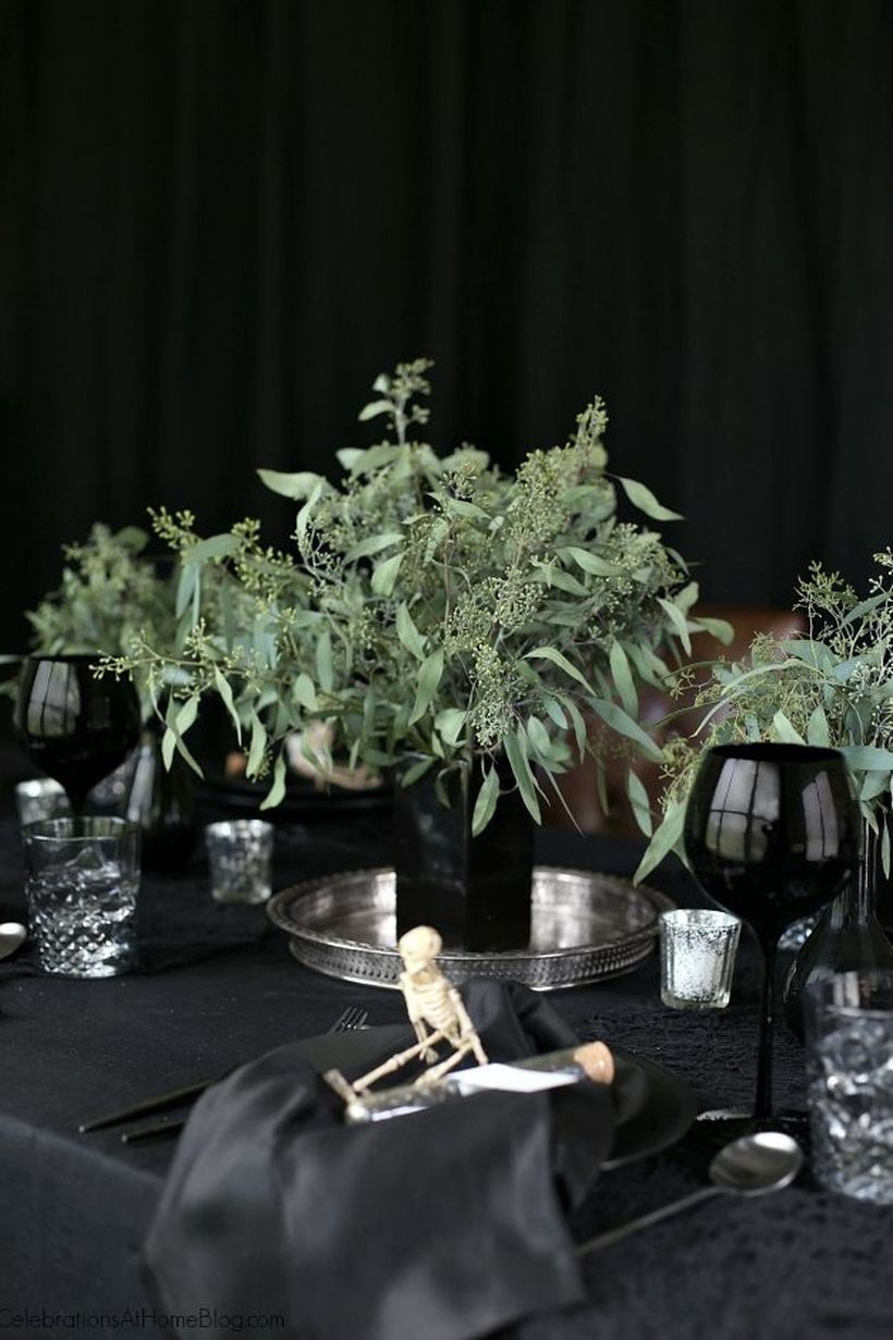 Creepy dining table with dark decor