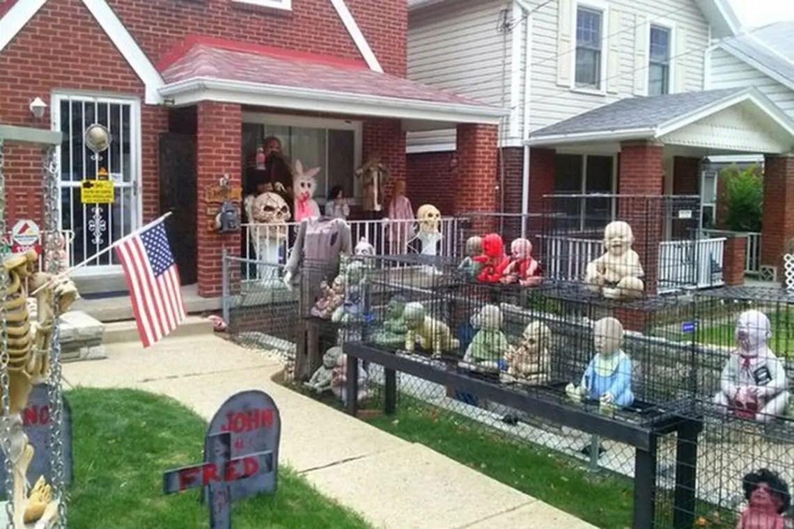 Creepy halloween decoration with zombie babies