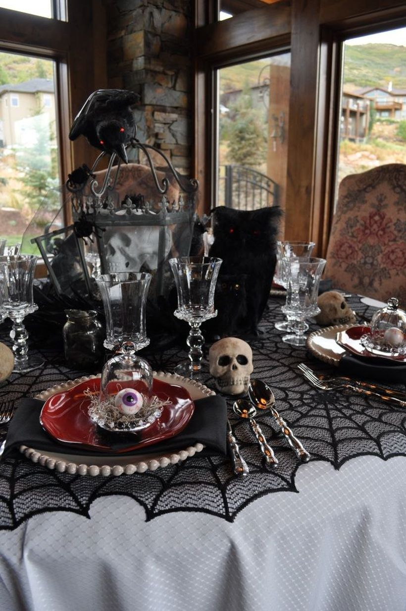 Creepy halloween with skulls and eyeballs